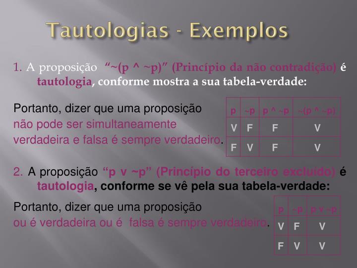 Tautologias exemplos
