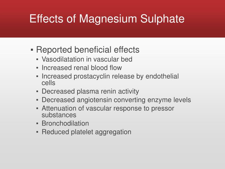 Effects of Magnesium Sulphate