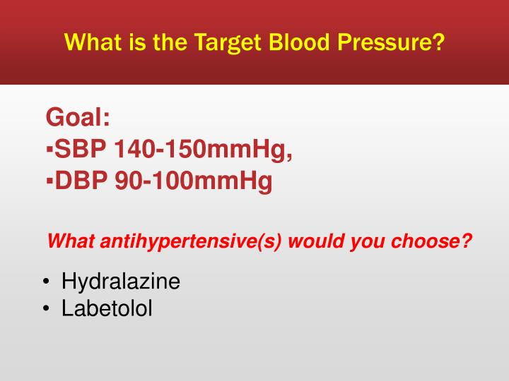 What is the Target Blood Pressure?