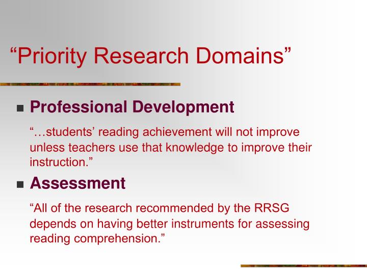 """Priority Research Domains"""