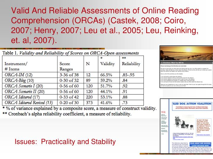 Valid And Reliable Assessments of Online Reading Comprehension (ORCAs) (Castek, 2008; Coiro, 2007; Henry, 2007; Leu et al., 2005; Leu, Reinking, et. al, 2007).
