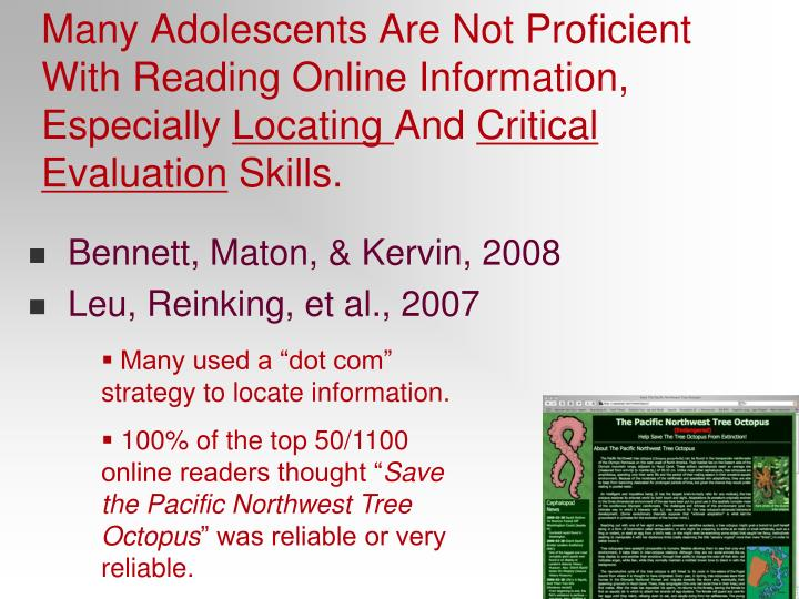 Many Adolescents Are Not Proficient With Reading Online Information, Especially