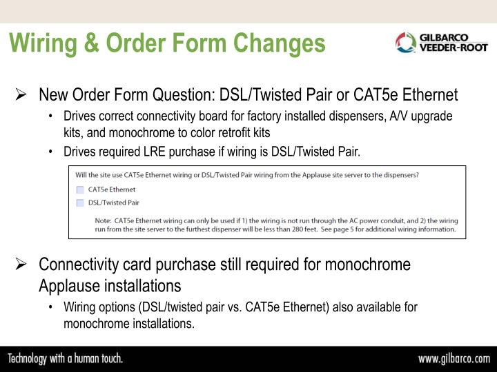 Wiring & Order Form Changes