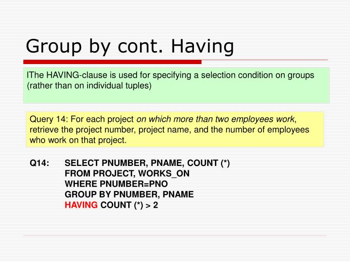 Group by cont. Having