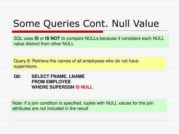 Some Queries Cont. Null Value