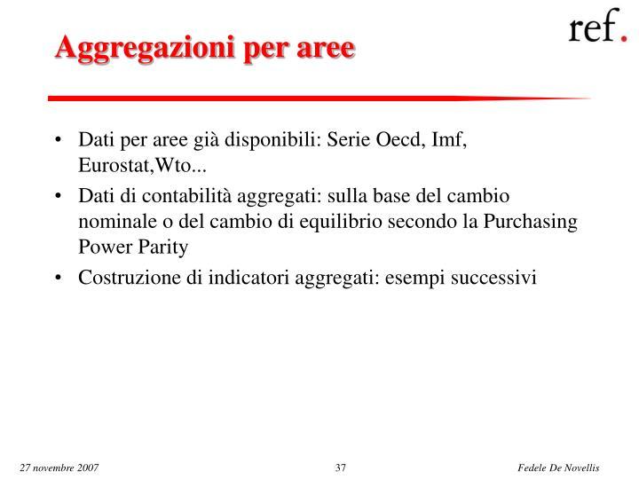 Aggregazioni per aree