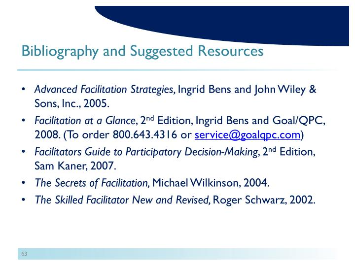 Bibliography and Suggested Resources