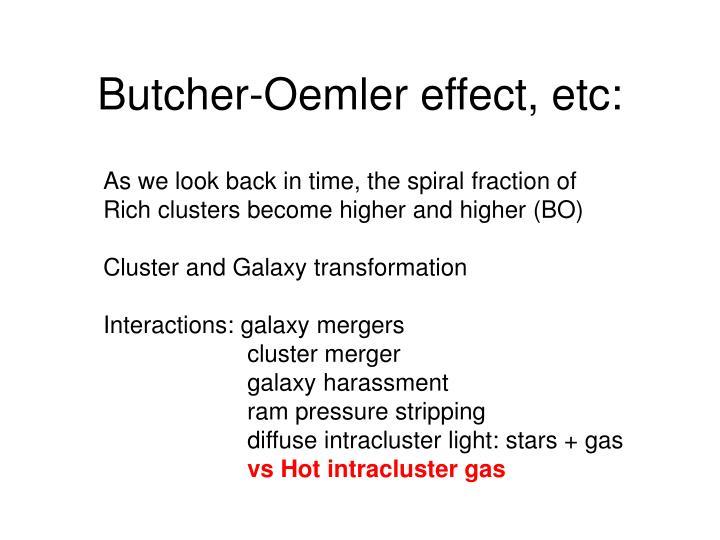 Butcher-Oemler effect, etc: