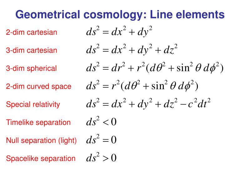 Geometrical cosmology: Line elements
