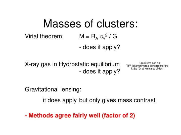 Masses of clusters: