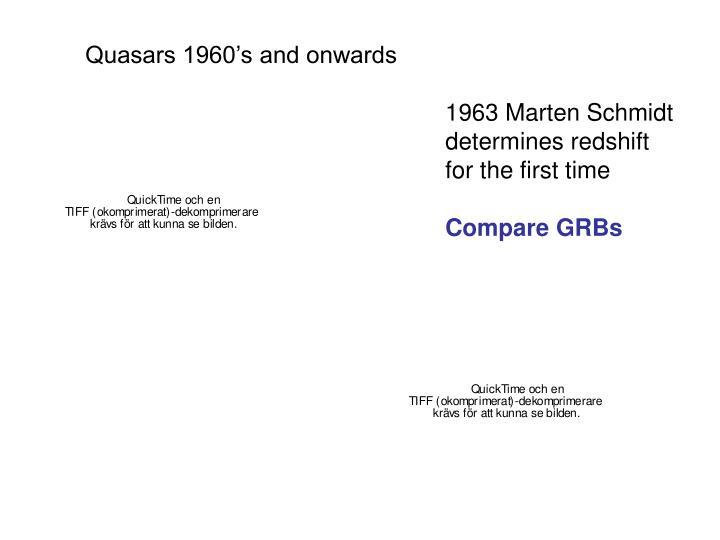 Quasars 1960's and onwards