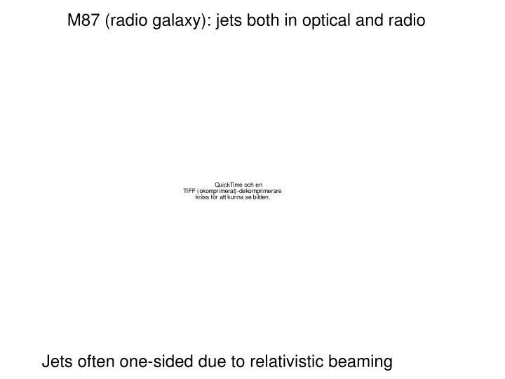 M87 (radio galaxy): jets both in optical and radio