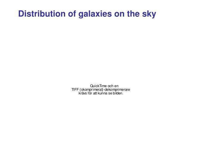 Distribution of galaxies on the sky