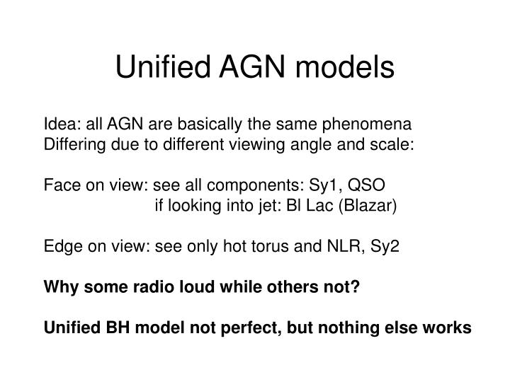 Unified AGN models
