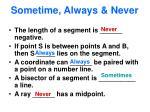 sometime always never