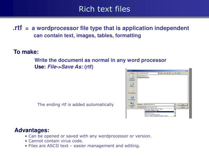 Rich text files
