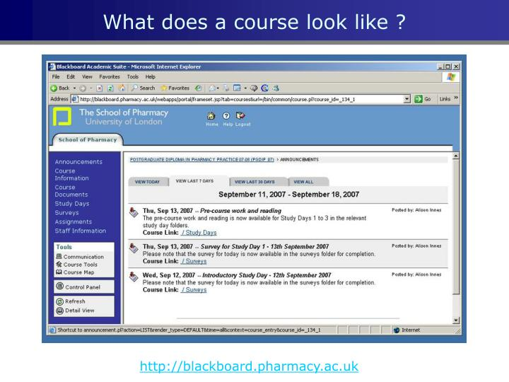 What does a course look like ?