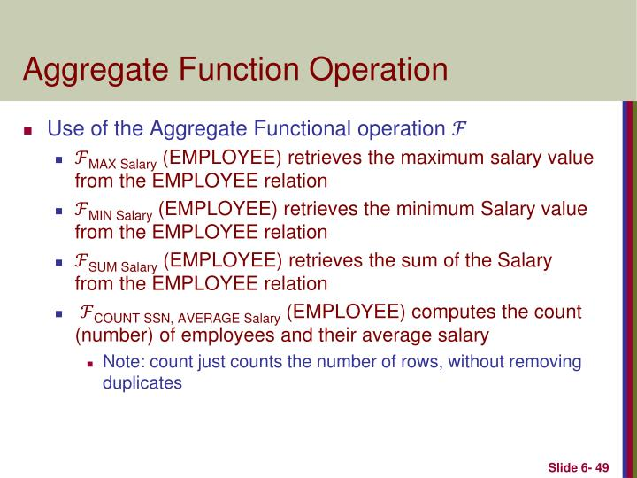 Aggregate Function Operation