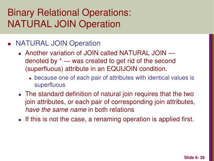 Binary Relational Operations: