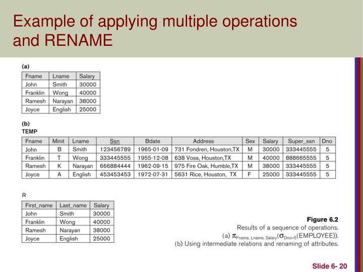 Example of applying multiple operations and RENAME