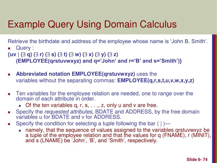 Example Query Using Domain Calculus