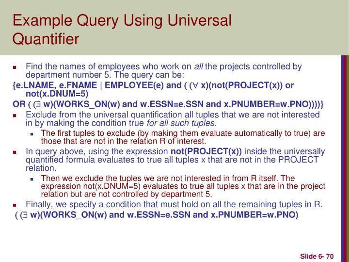 Example Query Using Universal Quantifier