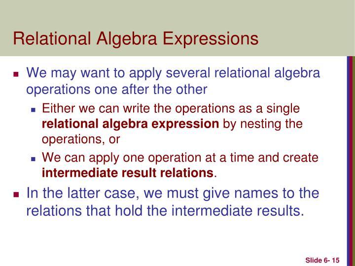 Relational Algebra Expressions