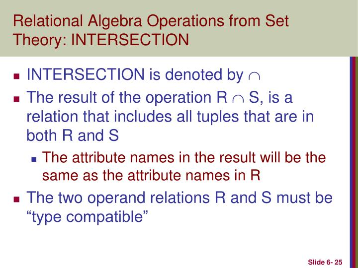 Relational Algebra Operations from Set Theory: INTERSECTION