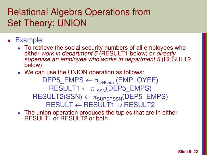 Relational Algebra Operations from