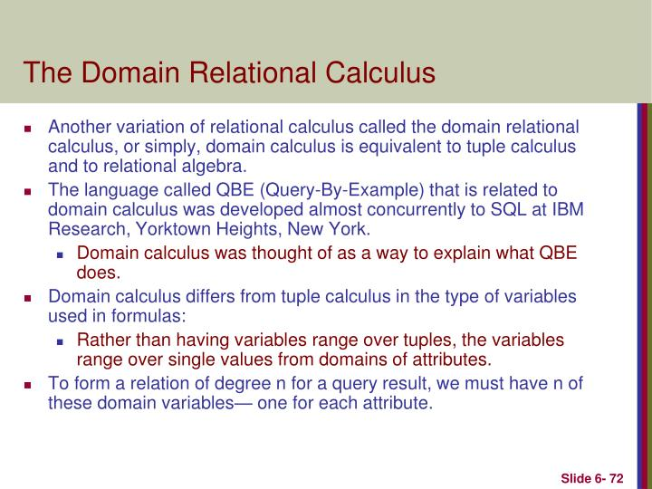 The Domain Relational Calculus