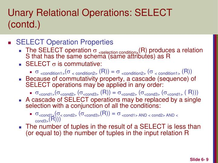 Unary Relational Operations: SELECT (contd.)