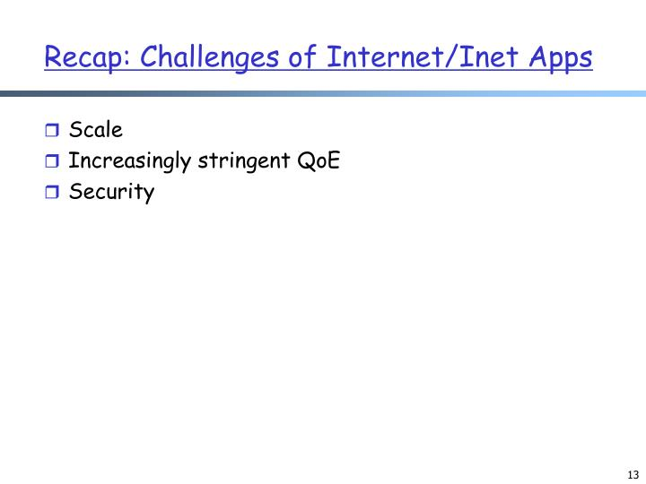Recap: Challenges of Internet/Inet Apps
