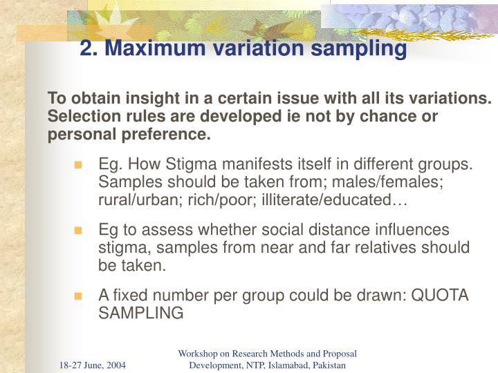 2. Maximum variation sampling