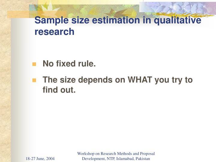 Sample size estimation in qualitative research