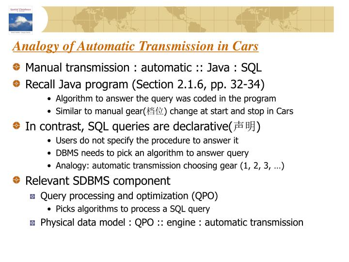 Analogy of automatic transmission in cars