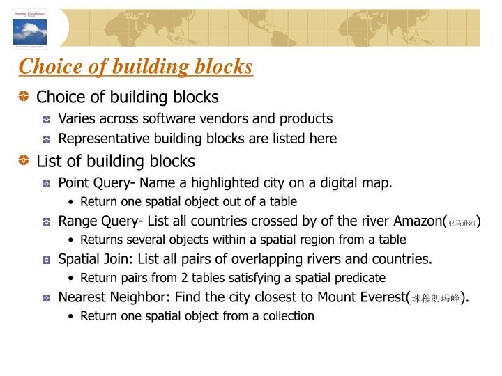 Choice of building blocks