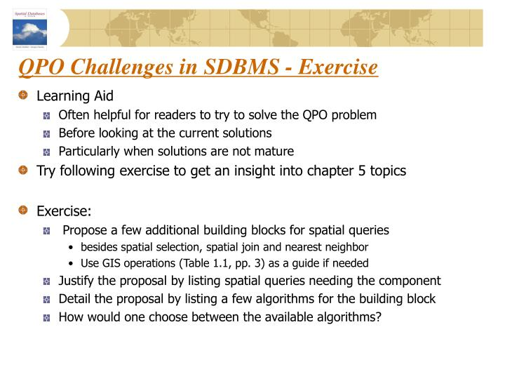 QPO Challenges in SDBMS - Exercise