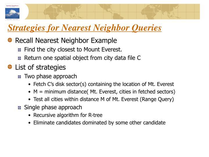 Strategies for Nearest Neighbor Queries