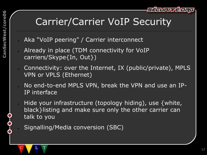 Carrier/Carrier VoIP Security