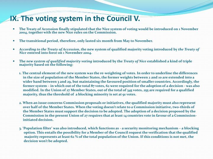 IX. The voting system in the Council V.