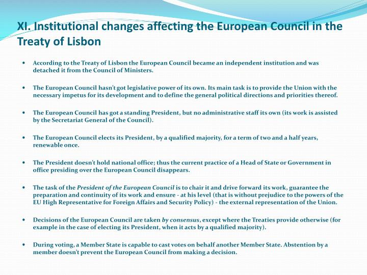 XI. Institutional changes affecting the European Council in the Treaty of Lisbon