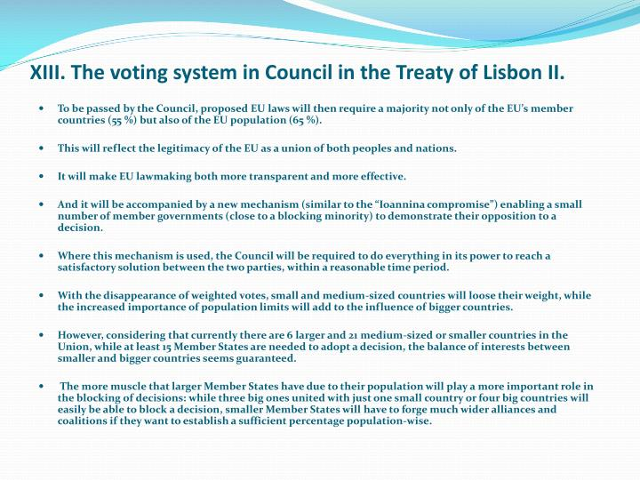 XIII. The voting system in Council in the Treaty of Lisbon II.
