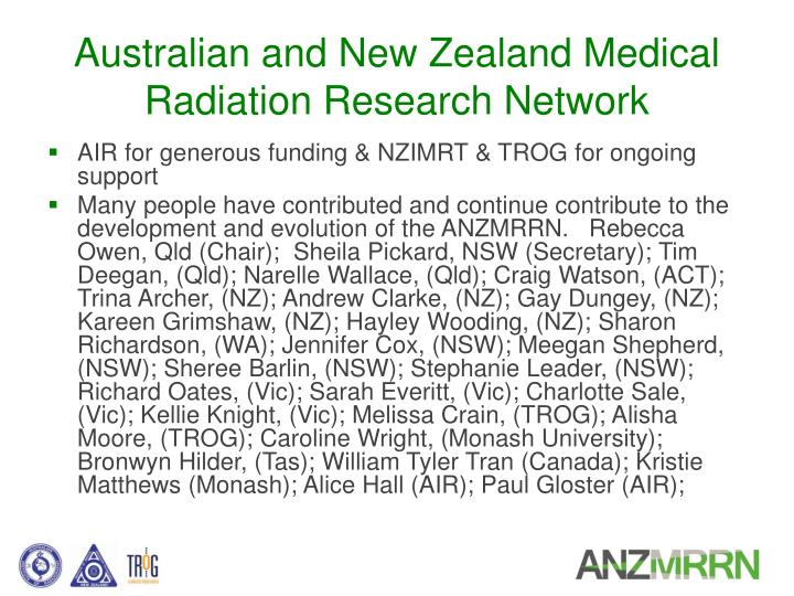 Australian and new zealand medical radiation research network