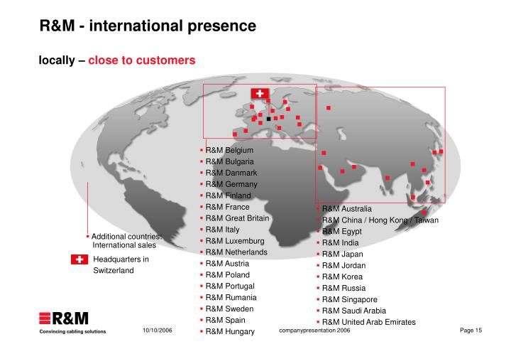 R&M - international presence