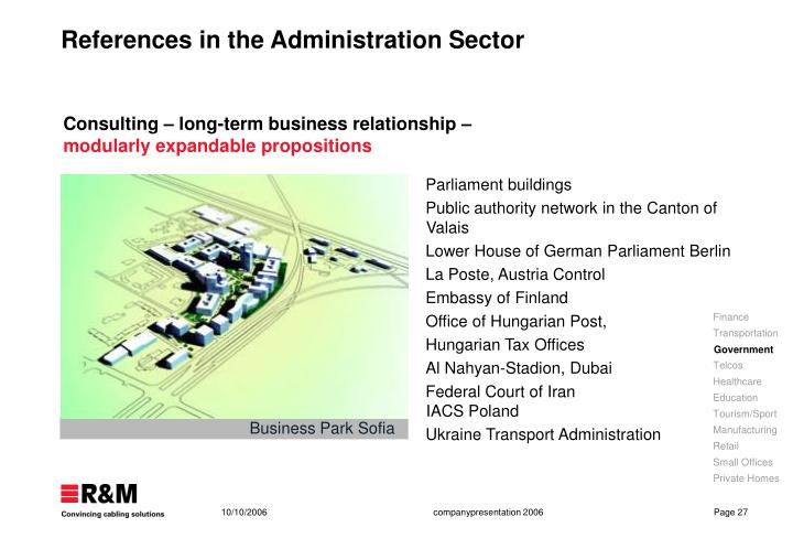 References in the Administration Sector