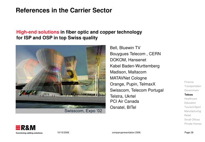References in the Carrier Sector