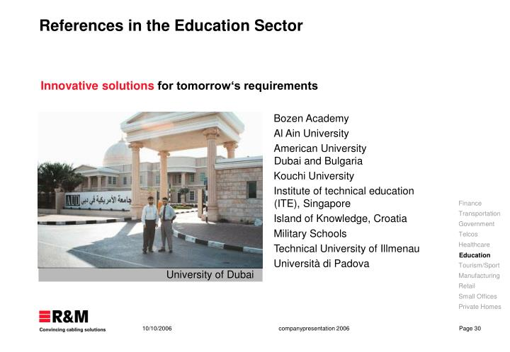 References in the Education Sector