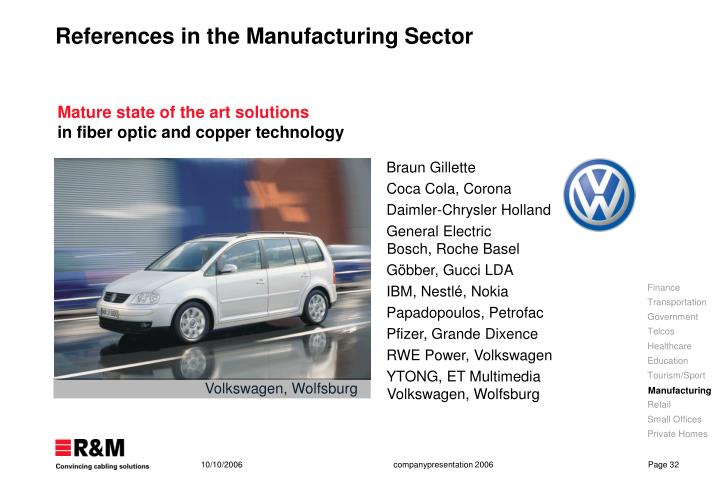 References in the Manufacturing Sector