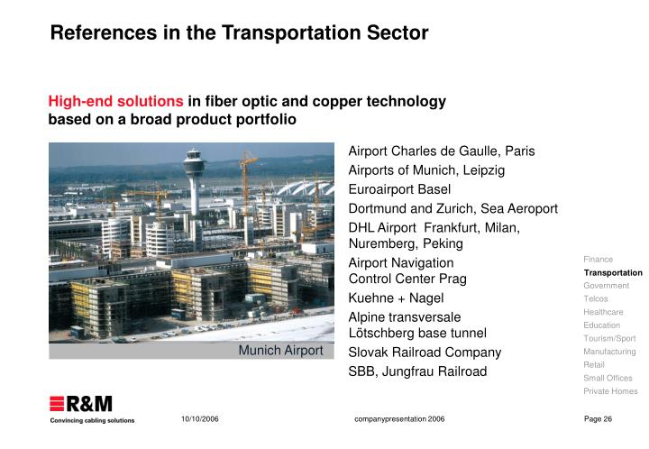 References in the Transportation Sector