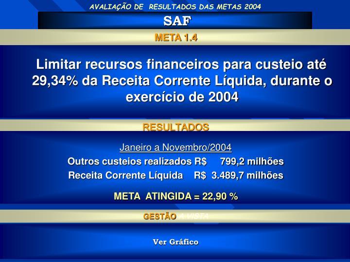 AVALIAÇÃO DE  RESULTADOS DAS METAS 2004